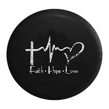Jeep Tire Cover Distressed Faith Hope Love Cross Heart Ekg