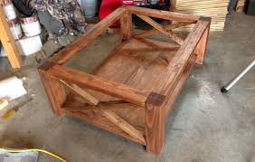 concrete coffee table with a trowel finish