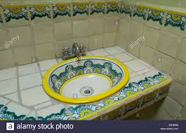 Mexican Bathroom talavera pottery tiles and sink in a mexican bathroom puebla 7918 by guidejewelry.us