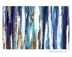 blue teal gold wall art on canvas
