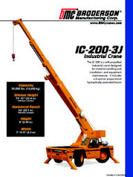 Carry Deck Industrial Cranes Broderson Specifications