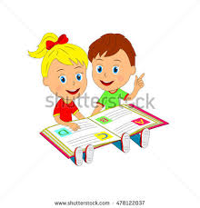 boy and are sitting with open a book ilration vector