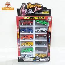 Xe ô tô đồ chơi cho bé chạy đà làm từ nhựa [1 bộ 12chiếc] chính hãng 68,000đ