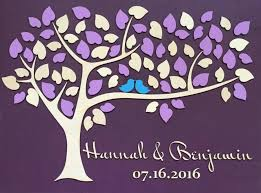 wedding guest book alternative unique guestbook wedding sign wooden tree guest book 3d heart tree with purple plum eggplant violet wedding