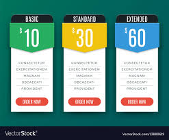 Price Chart Templates Comparison price chart table pricing plan Vector Image 1