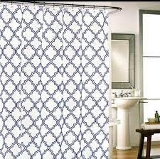 quatrefoil shower curtain tile navy blue on white fabric tile navy blue on white fabric shower