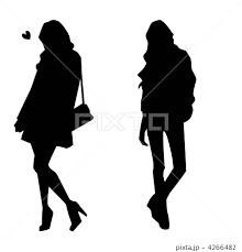若い女性のシルエットのイラスト素材 4266482 Pixta