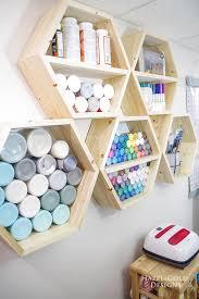 diy hexagon shelf for craft storage finished left side