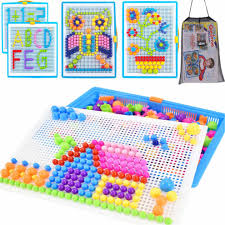 qchomee creative jigsaw puzzle board 296 pcs mushroom nails pegboard diy assorted color mosaic kit game educational toys popular birthday on