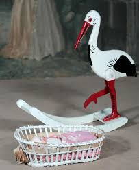 Wooden Stork with Wicker Bassinet for Baby : Signature Dolls | Ruby Lane