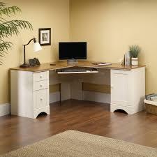 antique white corner computer desk workstation hutch with sauder harbor view