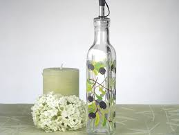 Olive Oil Decorative Bottles Europa Collection Medium Oil Bottle with Olives Design 9
