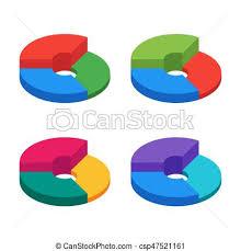 Pie Chart On Isolated Background Set Of Bulk Isometric Pie Char