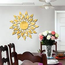 sunflower mirror wall sticker bedroom living room decoration stickers gold a jpg decor reflection ro