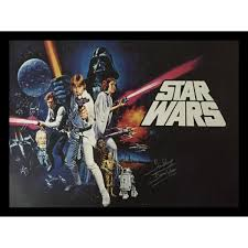 star wars framed poster signed by dave prowse darth vader image 1