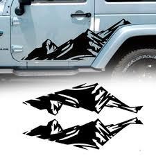 For Jeep Wrangler Black <b>Mountain Car</b> Side Skirt Decal Vinyl Sticker ...