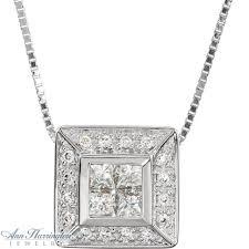 14k white gold 1 2 ct tw invisible set princess cut diamond pendant necklace ann harrington jewelry inc
