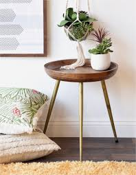 modern retro furniture. Round Mid Century Modern Retro Wood End Table With Brass Gold Legs Furniture N