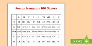 Roman Numerals Chart For Kids Roman Numerals 100 Square Teacher Made