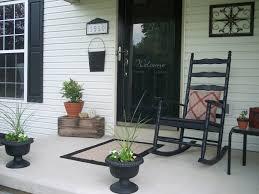 splendiferous antique black wooden rocking chair and half glass exterior architecture entry door decorate front porch