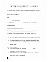 Roommate Agreement Contracts Free Nc Lease Agreement Template Of Free North Carolina