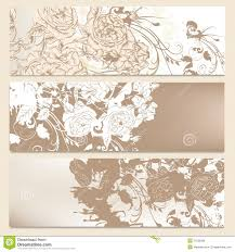 Set Of Wedding Brochures In Classic Style With Roses Stock Vector
