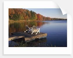 adirondack chairs lake. Modren Lake Adirondack Chairs On Dock At Lake By Corbis On T