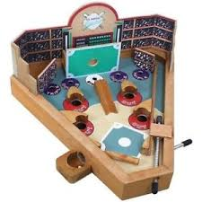 Wooden Baseball Game Toy PINBALL BASEBALL GAME WOODEN TABLETOP SPORT GAME SPRING LOADED 3