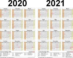 Small Printable 2020 Calendar 2020 2021 Two Year Calendar Free Printable Word Templates