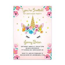 Birthday Invitation Party Amazon Com Custom Unicorn Birthday Party Invitations For