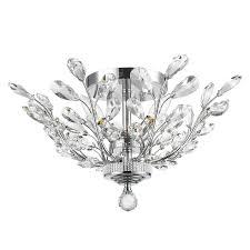 worldwide lighting aspen 20 in w chrome crystal semi flush mount light