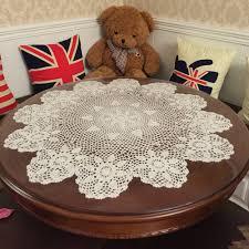 grace 24 inch beige round handmade cotton crochet lace tablecloth b06y63m78t