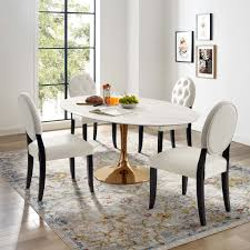 Lippa Oval Dining Table In Rose Gold And White Faux Marble Top Mcm