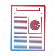Red And Blue Stats Paper With Pie Chart Over White Background