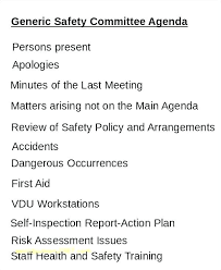 Outlook Meeting Agenda Template Osha Safety Committee Meeting Minutes Template