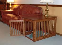 pet crate end table wood