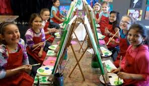 group picture of kids celebrating a birthday at paint until you faint