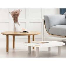 coffee table solid oak and milo round
