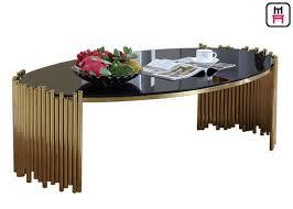 forme ovale de table basse supérieure d acier inoxydable de verre trempé pour la maison de café