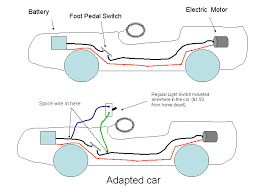 electric car jeep adapted for special needs the bottom diagram shows how the light switch can be spliced into the circuit note this design will allow the pedal to work fine so that other children