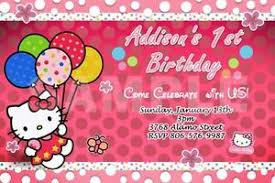 Hello Kitty Party Invitation Details About Hello Kitty Birthday Party Invitation 1st Customizable First Invites 9 Designs