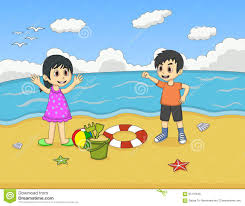 children playing on the beach cartoon vector ilration