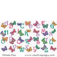 Butterfly Alphabet Chart Butterfly Alphabet Cross Stitch Pattern By Maria Diaz