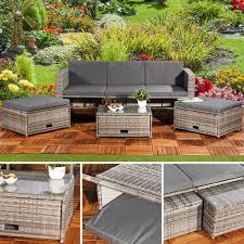 Polyrattan Garnitur Lounge Set Sitzmöbel Grau Real