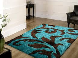 Teal And Brown Bedroom Soft Indoor Bedroom Shag Area Rug Brown With Turquoise Colors