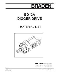 braden digger drive parts manual drive units braden brand braden digger drive parts manual
