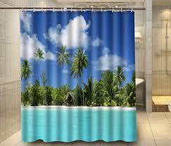 prissy beach fabric shower curtain beach shower curtain tropical beach palm treesky custom shower curtain beach