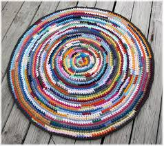 round rag rug multi color 39 inches brown trim round rag rug pattern