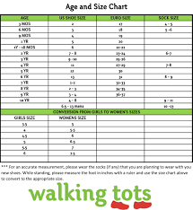 Kids And Girls Shoes Size Chart Stride Rite Baby Walking