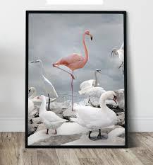 flamingo wall art print canvas